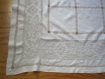 Beautiful Antique Handmade White Linen Appenzell Swiss Lace Tablecloth 60 X 71