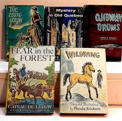 Lot of Five Vintage Young-Adult books. Children's. History. Adventure. Horses.