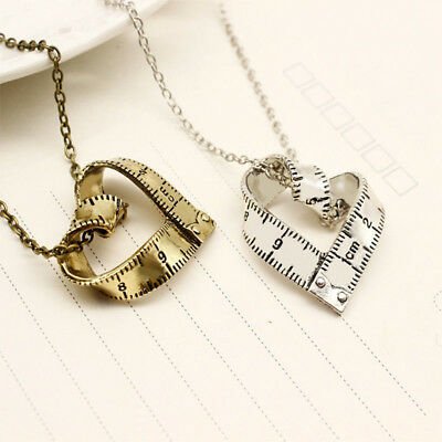 Heart Shape Metal Measure Ruler Pattern Pendant Necklace Fashion Jewelry Gift