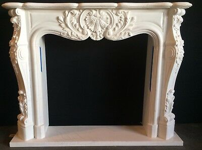 White FRENCH Marble Fireplace Mantel – Hand Carved Stone Mantle - IN STOCK