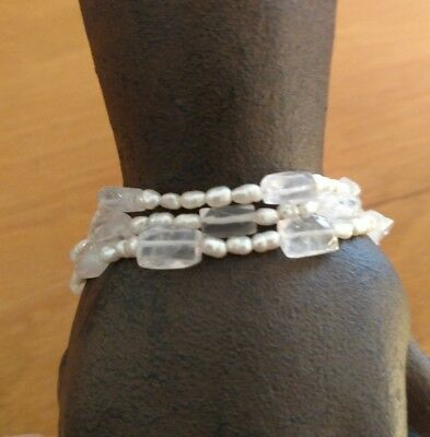 Stunning vintage antique Sterling Silver Pearl and white quartz 3 stand bracelet