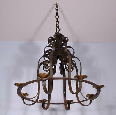 "Large (32"" diameter) Antique French Wrought Iron Chandelier/Hanging Lamp"