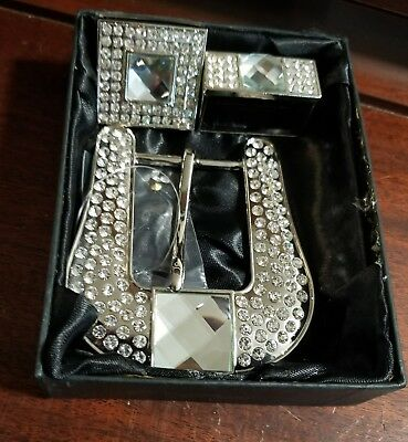 3 pc Western  Show BHW  Rhinestone Bling Belt Buckle, Tail End  & Keeper -show