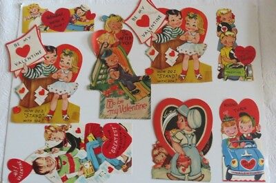 Vintage Lot of 10 Couples Valentine's Cards- 4 mechanical