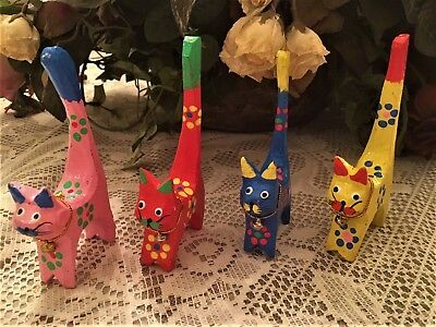 Four Balinese Small Multi-Colored Wooden Cats Handmade and Hand Painted in Bali