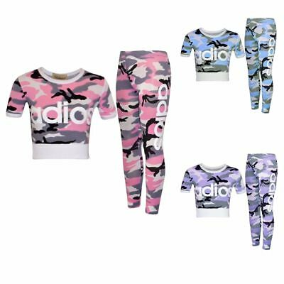 Girls Kids Adios Pink Camouflage Tracksuit Children's Crop Top Leggings Age 7-13