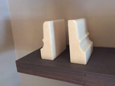 Vintage Art Deco Solid White Marble / Mid Century Modern Book Ends Set Stunning!