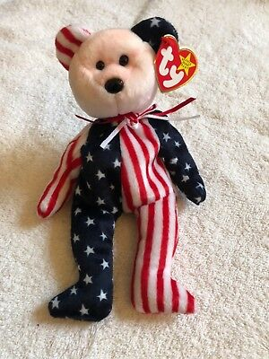Ty Beanie Baby Spangle Bear 1999 red/pink face
