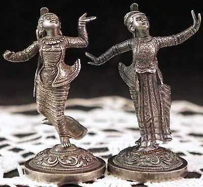 Siamese Asian Man & Woman Figures Figurines in Solid Silver Incredible Details