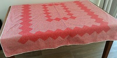 Vintage 60s RED WHITE Cotton GINGHAM CHECK Embroidered Picnic Table Cloth