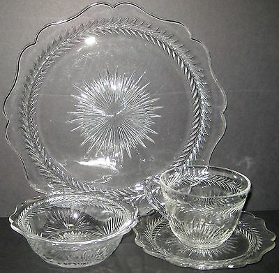 24 Piece Jeannette Depression Glass Sunburst Herringbone Clear Service for 6 Set