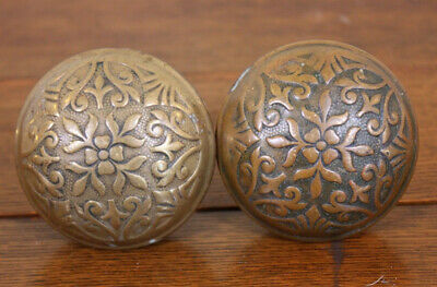 Lot  2 Antique Vtg Patina Brass Door Knobs Restore Architectural Project Shabby