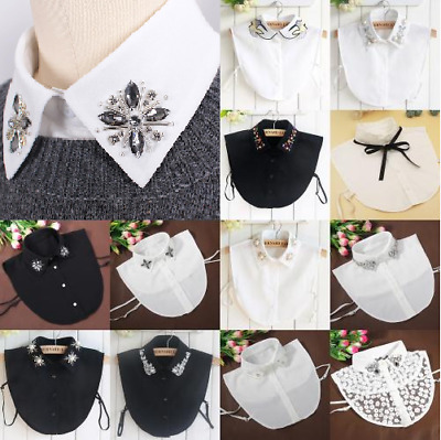 Lady Detachable Faux Fake Lapel Retro Shirt Collar Necklace Removable Chok COP