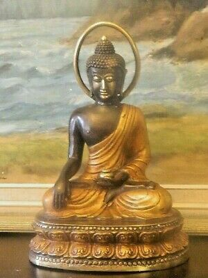Beautiful Solid Bronze Gilt Seated Buddha Statue Great Details & Workman Ship
