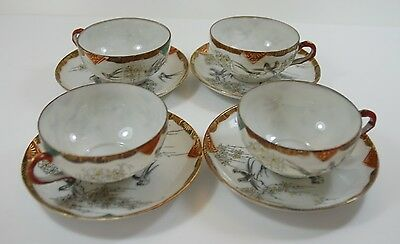 Vintage Japanese Cups and Saucers x 4 EggShell Porcelain Hand Painted Swallows