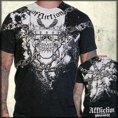Affliction Megadeth Skull Dave Mustaine T-Shirt Black Lava Wash RARE NEW TO 3XL