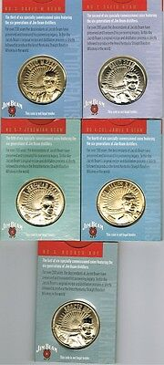FIVE JIM BEAM COLLECTOR SERIES SILVER DOLLAR COINS MINT Nos.2.3.4.5 & 6