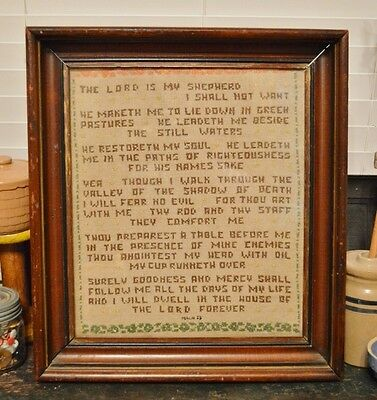 """Early 19th Century 23rd Psalm Sampler Framed Verse Antique Bible 1800-40 18""""x16"""""""