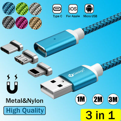1/2/3M 3IN1 Magnetic Type C IOS Micro USB Charger Charging Cable Magnet Plug Lot