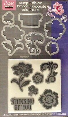 SIZZIX HERO ARTS FRAMELITS Stamp & Cutting Dies THINKING OF YOU 6 stamps 6 dies