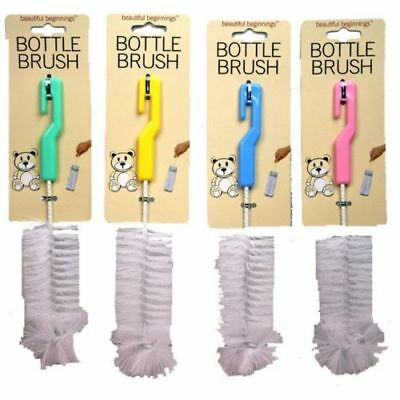 Baby Bottle Cleaning Brush - Blue, Pastel Green, Pink And Yellow
