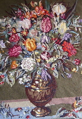 "Large Vintage Needlepoint Tapestry Panel Flowers bouquet floral green 25""x18"""