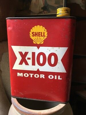 bidon huile collection Shell X 100 old oil can collector automobilia