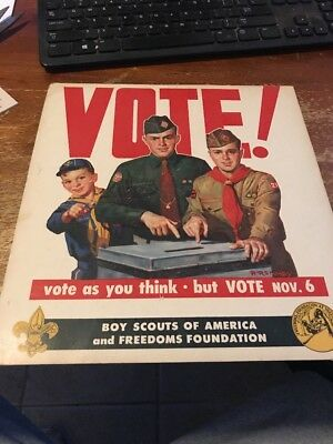 Boy Scouts Register & Vote Poster Freedoms Foundation Paul Remmey 1956 D-319