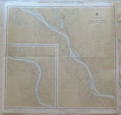 "Vintage 1981 2-Sided NOAA NAUTICAL CHART #12377 Connecticut River 33.5"" x 32"""
