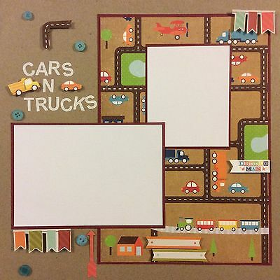 Handmade Scrapbook Page 12 X 12 Cars And Trucks Little Man Themed Layout