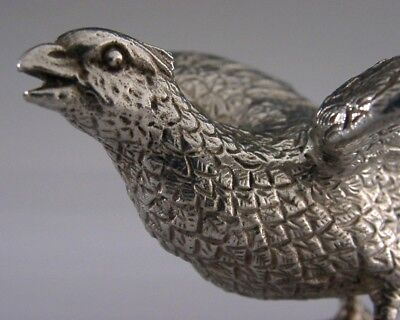 BEAUTIFUL SILVER PLATE PHEASANT FIGURE c1940-1950 ANTIQUE HUNTING SHOOTING