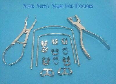 New Rubber Dam Starter Kit of 15 Pcs with Frame Punch Clamps Dental Instruments