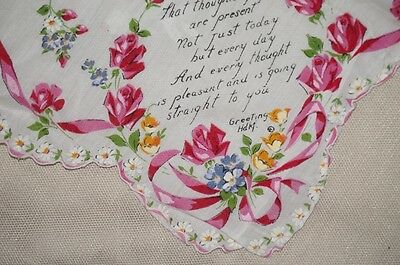 vintage print lady's handkerchief with beautiful flower print design and poem