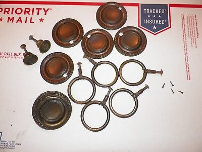 Lot of Keeler Brass Victorian Round drawer drop bail pulls handle 4 Drawer Set !