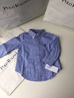 BNWT Ralph Lauren Boys Designer Long Sleeves Shirt 18M 12-18MTHS RRP £45.00