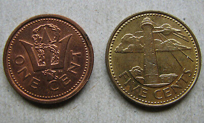 Barbados 1-5 Cents 1986-87 Lot 2 Münzen