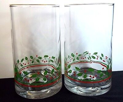 2 coolers Arby's 1983 Christmas Collection Holly & Berries 16 oz gold rims
