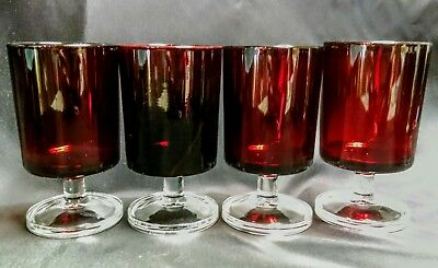 4 LUMINARC RUBY RED CAVALIER GLASSES  France Footed Stemware Wine 2 sets Availab
