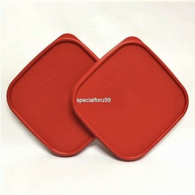 2 NEW Tupperware Modular Mates Square Lid Red Replacement Seal Cover MM #1623
