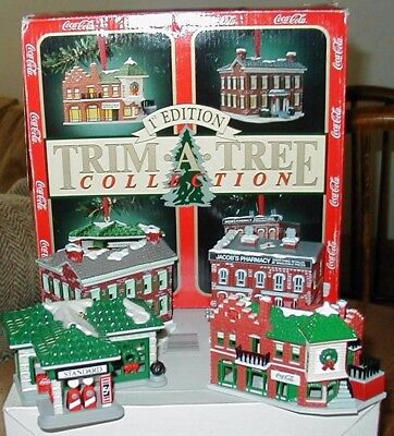 Coca Cola 1st Edition Trim A Tree Collection Ornaments Lot of 4 Buildings