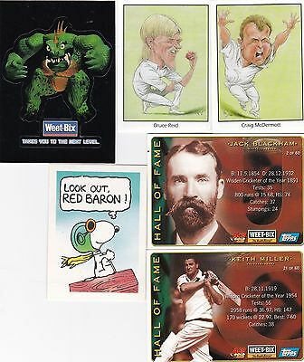 12 Weet-Bix cards - Aussie cricketers - WWF - postcards - Peanuts + 1 sticker