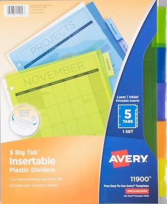 Avery Office Essentials Econ Insertable Tab Dvdrs Set Of 5