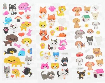 5 10 50 x Childrens Kid DOGS CATS Craft Party Bag Reward Stickers Sticker Sheets