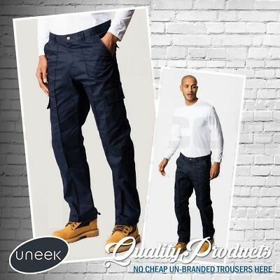 "Uneek Mens Work Cargo Combat Workwear Black Navy Trousers Sizes 28"" - 52"" UC902"