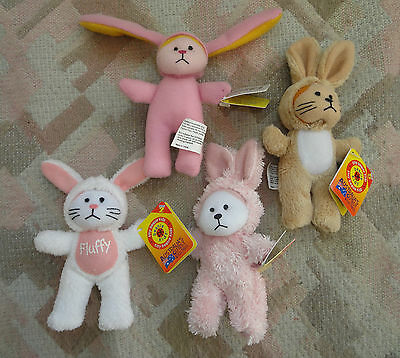4 Tiny Beanie Kids Rabbits Bunny - all different
