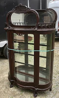 Carved Art Nouveau Mahogany Serpentine Door China Cabinet