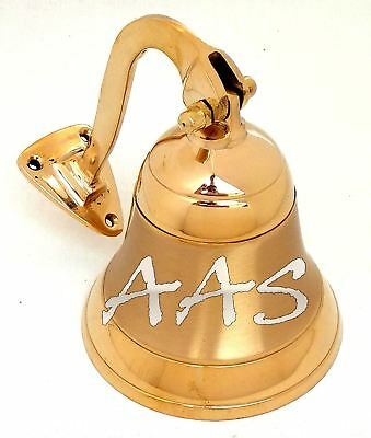 Vintage Polished Brass Nautical Ship Bell School Dinner Walled Mounted Door Bell
