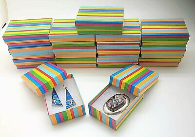 15 Rainbow Stripes Jewelry Gift Boxes Cotton Fill 3-1/16x2-1/8x1 Earring Pin Box