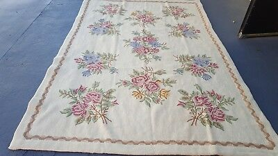 Vintage Hand Woven Portuguese Needlepoint  Rug  6' x 9' Wool - Floral Shabby