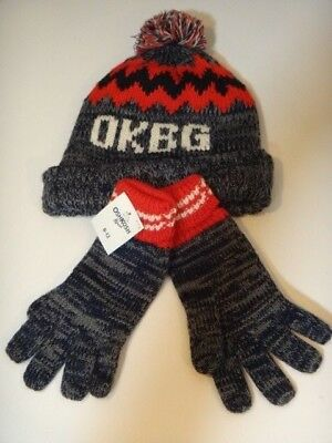 NEW OShkosh B'Gosh winter HAT & GLOVES SET boys 8-12 marled red blue warm